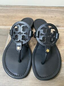 Tory Burch 'Miller' Black Leather Flip Flop Sandals Women's Size 7.5