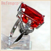 Women Luxurious 925 Silver Plated Large Red Ruby Jewelry Ring Wedding Band Ring