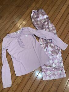 EUC American Girl Purple Snowflake Pajamas Size Large L