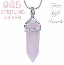 925 Sterling Silver Pink Rose Crystal Quartz Healing Chakra Pendant Necklace New