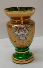 """Green Glass Vase Hand Painted Flowers Gold Accents Vintage 4-1/2"""""""