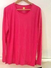 WonderWink Scrubs Layers Soft Silky Long-Sleeve Uniform Tee Top Shirt Hot Pink L