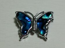 NEW ** PAUA SHELL BUTTERFLY BROOCH ** BLUE ** CHROME