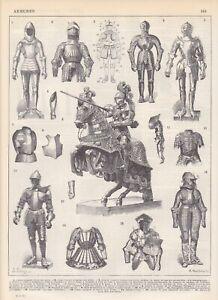 Rüstungen Plattenharnisch Ritterrüstung Pferderüstung Ritter HOLZSTICH von 1897