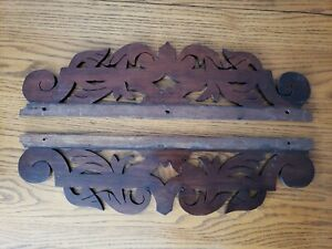 2 Antique Hardwood Wood Oak? Furniture Pieces Architecture Salvage Pediment