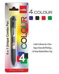 BIC CELLO 4-Colour BLACK BLUE RED GREEN Combo Smooth Ballpoint Pens