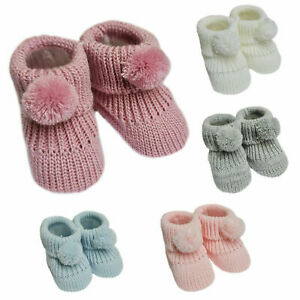 Newborn Baby Boys Girls 1 Pair Pom Pom Baby Booties NB-3 Months Approx Bootees