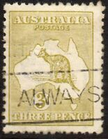 1915 Australia Sg 37d 3d yellow-olive (Die II) Fine Used