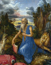 Saint Jerome In The Wilderness Durer Bible Painting Real Canvas Art Print