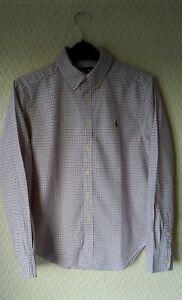 Boys Ralph Lauren check shirt White Pink Tattersall M 10 12 years Small Pony New