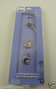 key moon flower belly button navel ring piercing naval interchangeable crystal