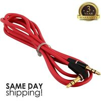 3.5mm Male to M Aux Cable Cord L-Shaped Right Angle Car Audio Headphone Jack Red