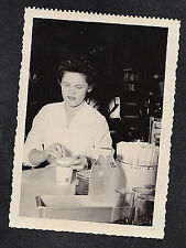 Vintage Antique Photograph Woman Preparing Cup of Coffee in Coffe Shop / Cafe