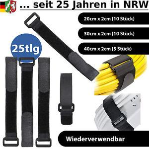 Kabelbinder Klett Klettband Klettverschluss schwarz wiederverwendbar Kabel Set