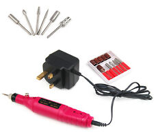20000 RPM Electric Pen-Shape Manicure Machine Nail Art File Drill + 6 Bits Pink