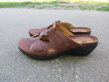 Clarks Unstructured Wedge Slide Sandals 7.5 M Brown Slides 86395