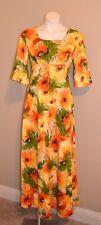 New listing Ui-Maikai Vintage Dress Medium M 14 Hawaiian Barkcloth Yellow Orange 60's 70's