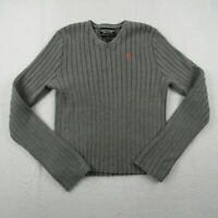 Abercrombie And Fitch Sweater Adult Large Men Gray Orange Knit Thick V-Neck