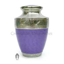 Hand Engraved Neck Curved in Nickel, Enamelled Purple Urn for Cremation Ashes
