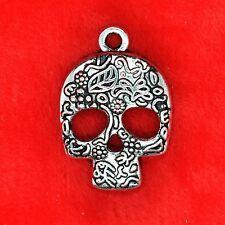 4 x Tibetan Silver Patterned Skull Charm Pendant Finding Beading Making