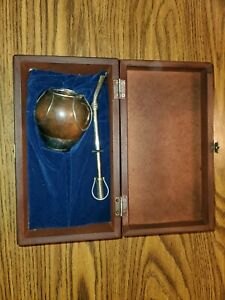ARGENTINA MATE GOURD YERBA TEA CUP WITH STRAW BOMBILLA GAUCHO with case