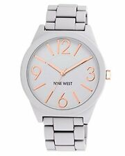Nine West Womens Watchme Analog Display Japanese Quartz Grey Bracelet Watch