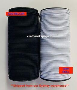 100m BULK Elastic Stretch Cord 2mm Round Soft DIY Sewing/Craft/Mask AUS SELLER