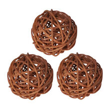 3Pcs Wicker Rattan Balls Decorative Orbs DIY Craft Wedding Home Decoration