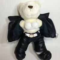 RARE Herrington BOOBS Trump Bear Natasha Teddy Bear Black Leather Marina Casino