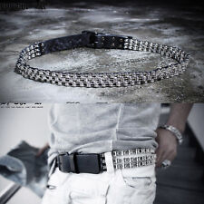 ByTheR Men's Chic Urban Punk Vibe Strings Chain Metal Silver Fashion Belt Rock N