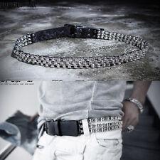 ByTheR Men's Chic Urban Punk Vibe Strings Chain Metal Silver Fashion Belt Rock N