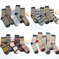 5 Pairs Men Retro Wool Cashmere Design Warm Soft Thick Winter Casual Dress Socks