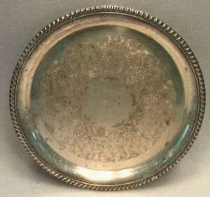 SILVERPLATED W M ROGERS 171 VINTAGE TRAY 12-3/8 INCHES ROUND ROPE LACE EDGE RIM