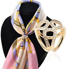 Metal Scarves Jewelry Ring Clip Women Scarf Buckle Brooch Holder Rhinestone