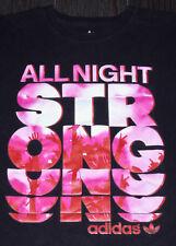 All Night Strong Adidas Originals BLACK T Shirt Unique Graphics Rare EUC SZ. MED