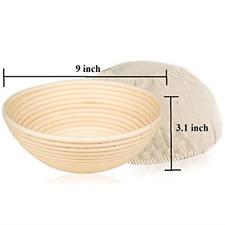 9 inch Round Bread Bayonet Proofing Basket & Liner GUS HOUSE Platform Dough R...