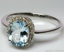 Aquamarine Solitaire with Accents 18k Engagement Rings
