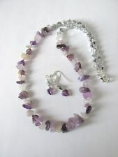 """1 necklace and earring set made with amethyst chips 20"""" hand made"""