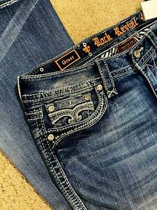 Rock Revival Greer Boot EP2622B203L Denim women jeans size 33 X 34 - NEW