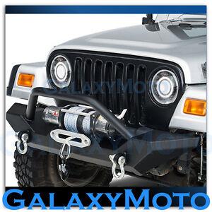 Wild Boar Black Projector Headlight Lamp+Halo Eagle Ring fit 97-06 Jeep Wrangler
