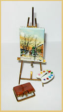 """Hand painted LIMOGES MINIATURE """"PAINTING ON EASEL  """"PARIS"""""""