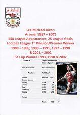 Lee Dixon Arsenal 1987-2002 Original Pro-Set tarjeta firmada a mano