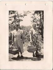 Mature Ladies In Print Dresses Carrying Baskets For Fruit Pickin Vtg 1940s Photo