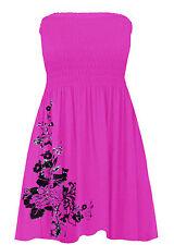 Womens Floral Glitter Swing Mini Dress Ladies Shirring Bandeau Boobtube Top 8-22