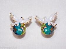 Amazing Dove Of World Peace Holding Globe Gold Earrings - USA