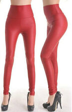 LEGGING VINYL rouge BRILLANT TREGGING PANTALON MOULANT SKINNY PVC cuir leggings