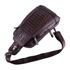 Men Leather Cowhide Sling Bag Shoulder Backpack Crocodile Grain Pattern