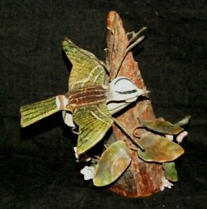 Brumm Large Enamel on Copper Bird Flowers Wood Base Sculpture Woodland Beauty
