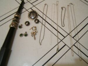 Estate Lot STERLING SILVER Jewelry 925 Rings Pins Earrings Necklace 63.5 grams