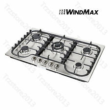 """WindMax 34"""" Kitchen Stainless Steel 5 Burners Built-In Stoves Gas Cooktop Cooker"""